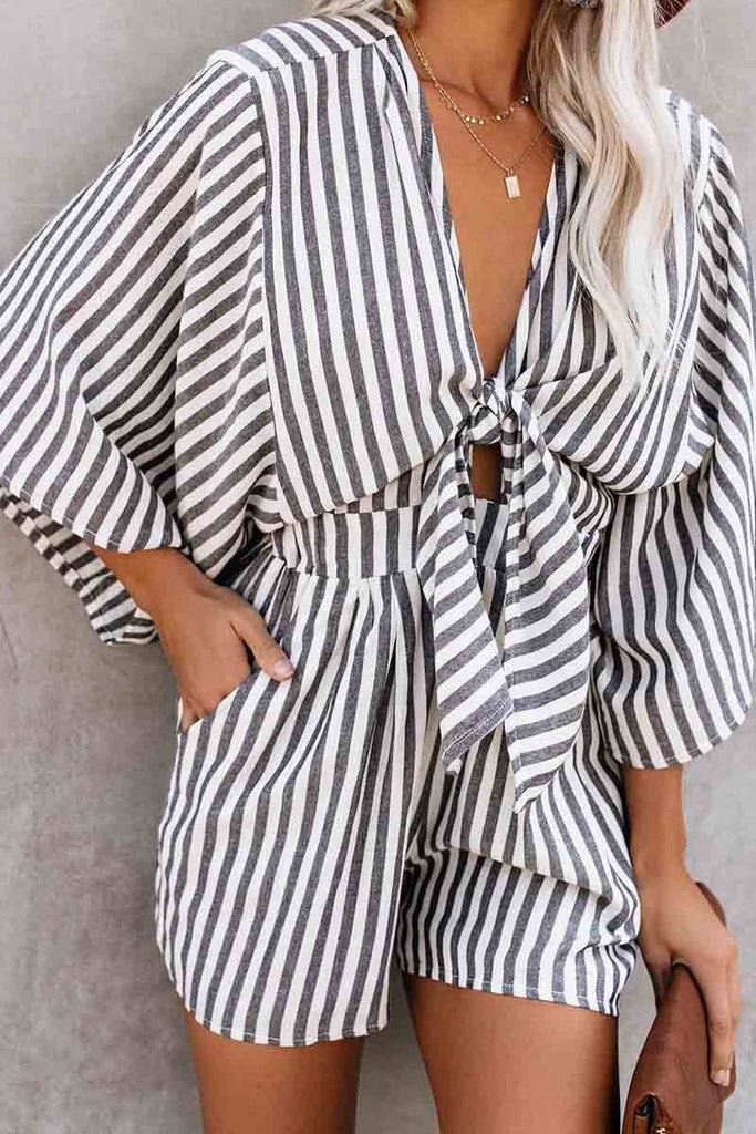 Chicindress Striped Short Sleeve Loose Romper