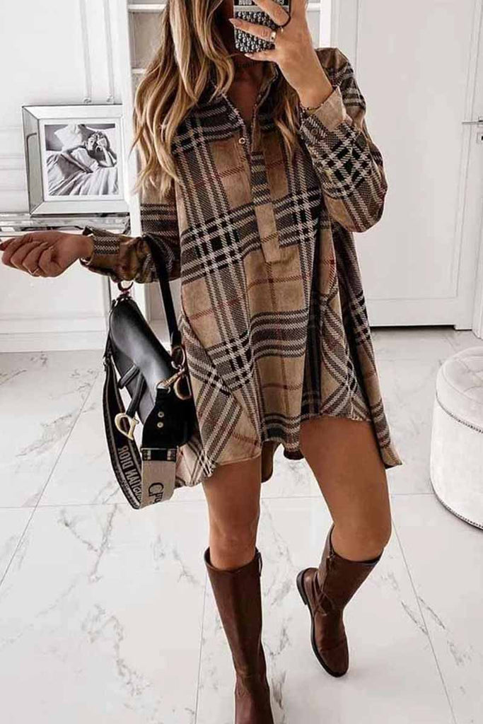 Chicindress Loose Plaid Long Sleeve Shirt Mini Dress