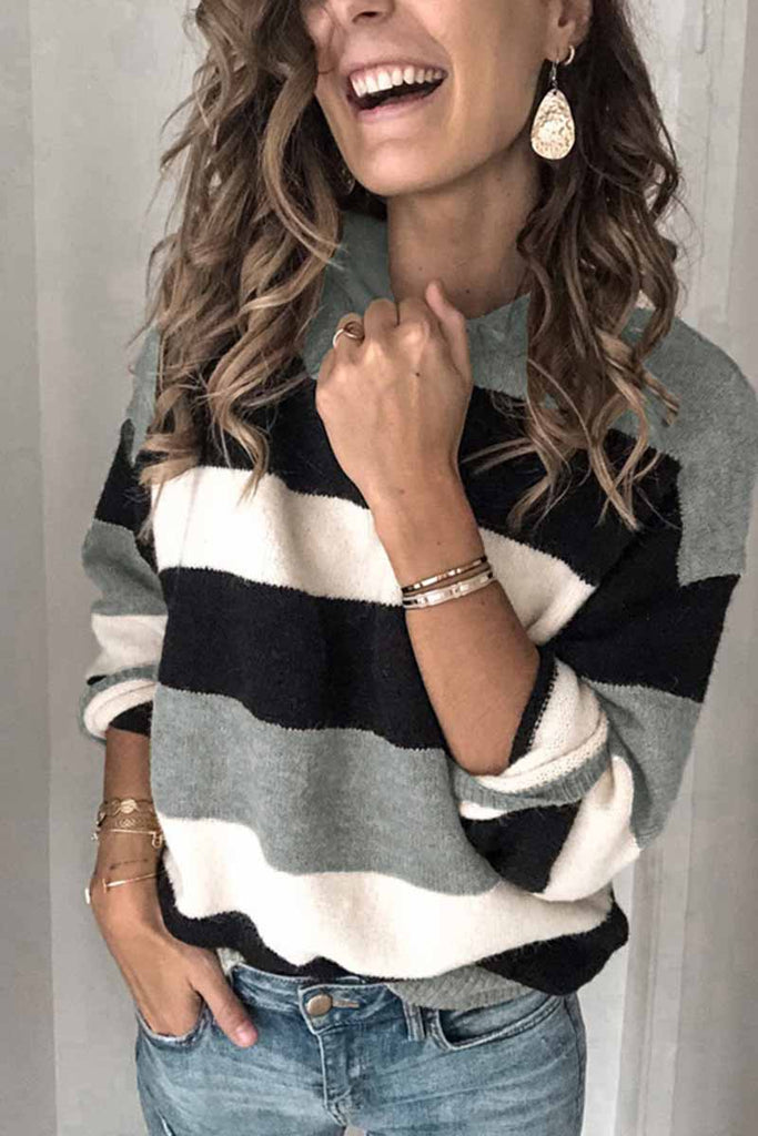Chicindress Striped O-Neck Contrast Sweater