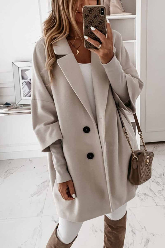 Chicindress Solid Color Lapel Coat With Pocket And Buttons