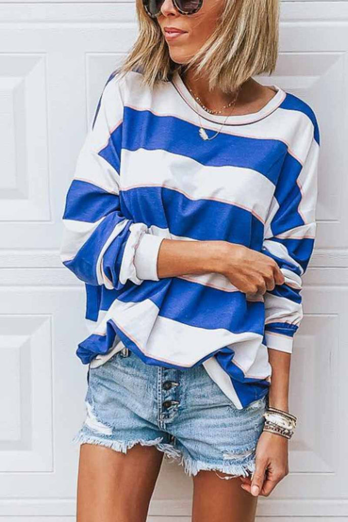 Chicindress Loose Round Neck Striped T-shirt