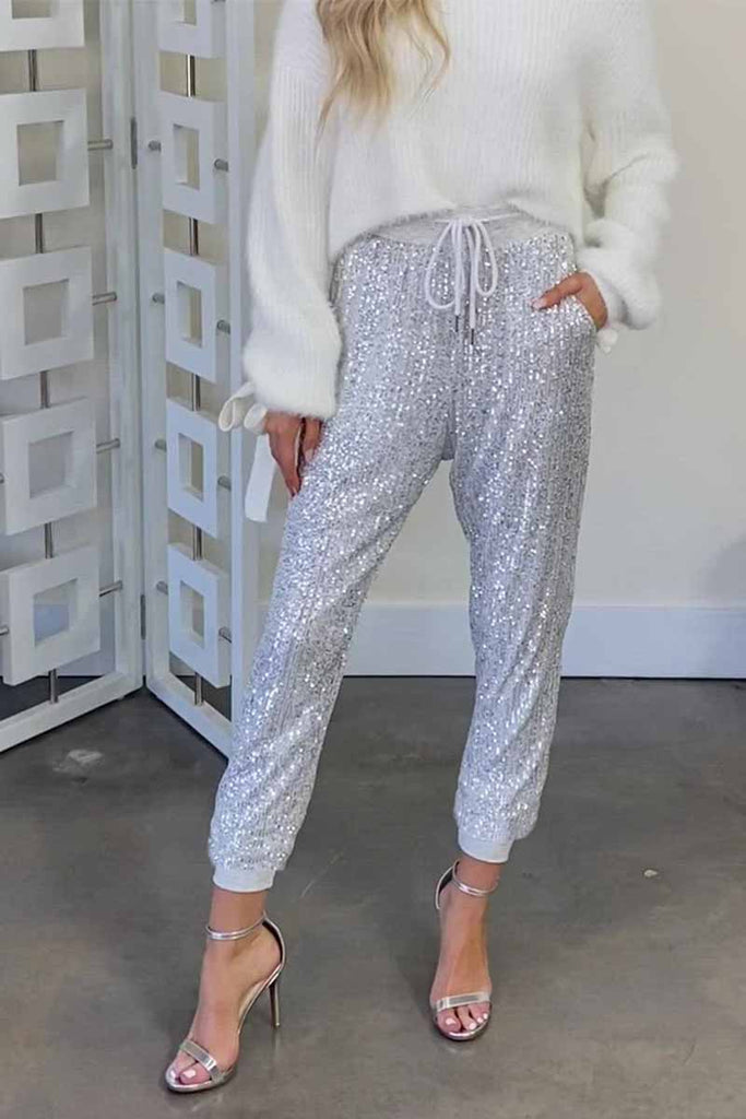 Chicindress Ruffled High Waist Drawstring Sequined Pants