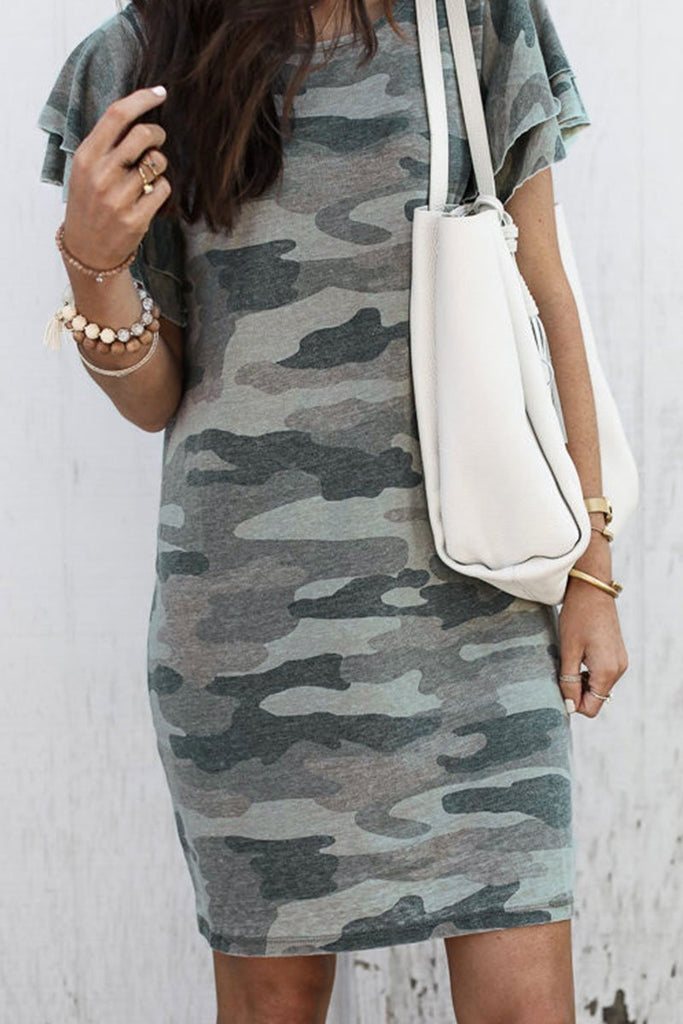 Chicindress Camouflage Army Green Ruffle Sleeves Dress