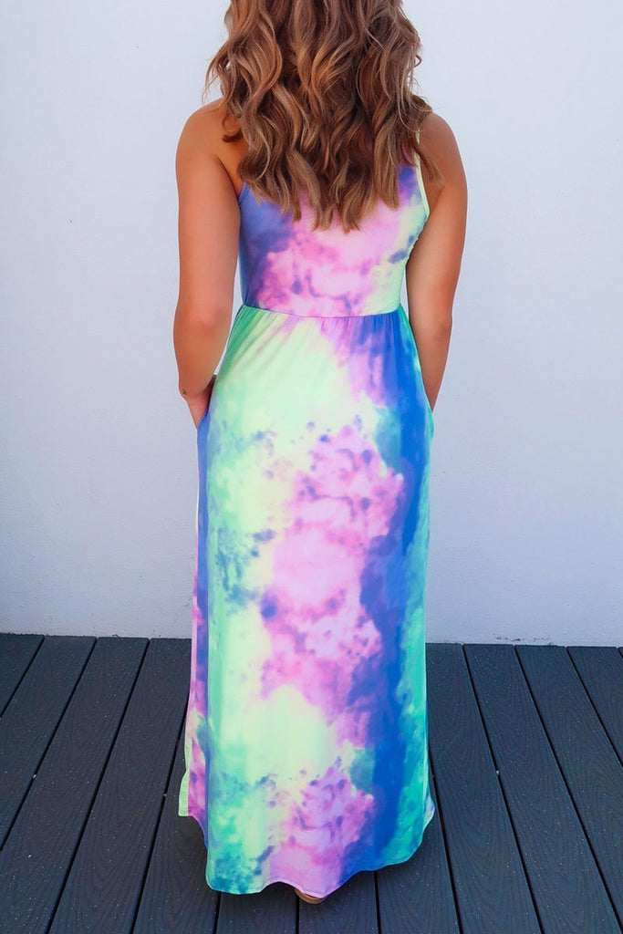 Chicindress Tie-dye Printed Multicolor Maxi Dress