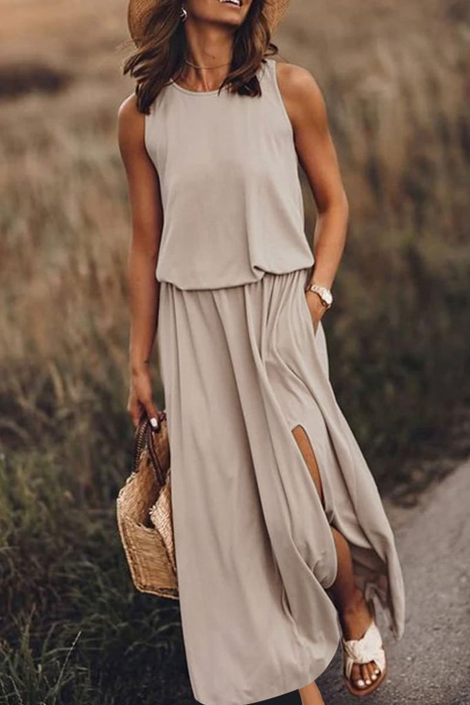 Chicindress Bohemian Sleeveless Side Slit Maxi Dress