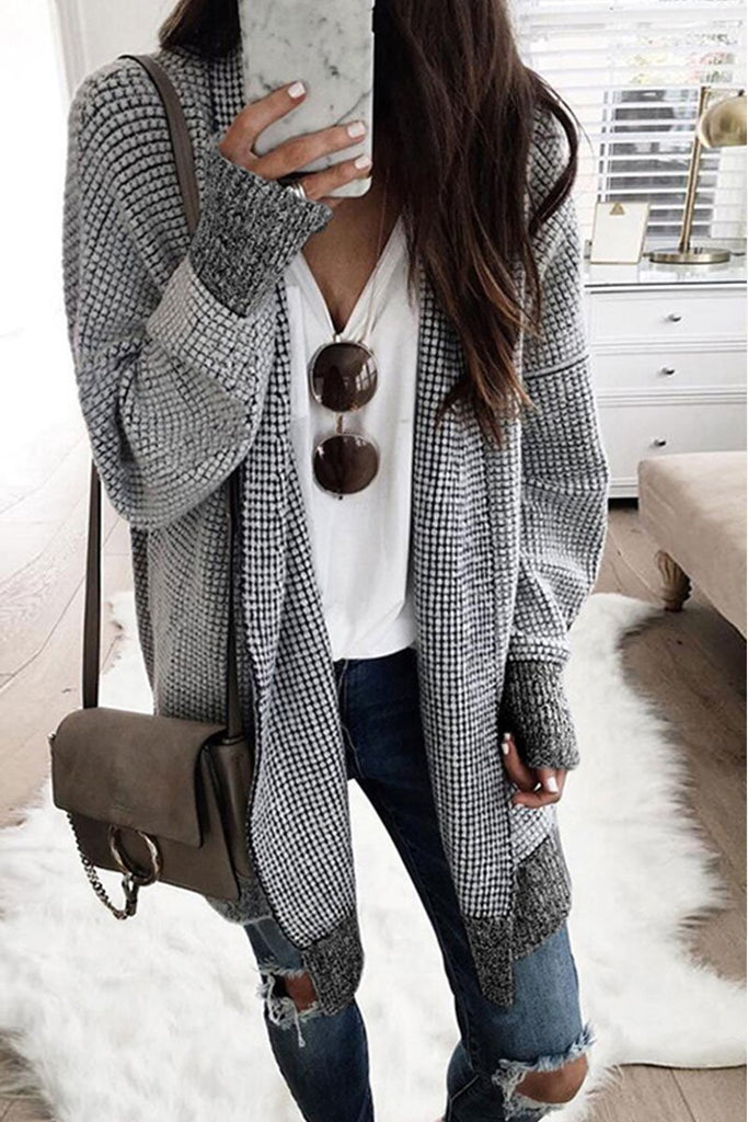 Chicindress Plaid Grids Printed Black Cardigan