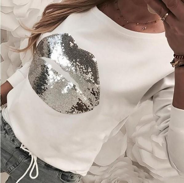 Chicindress Lip Shape Sequin Sweatshirt