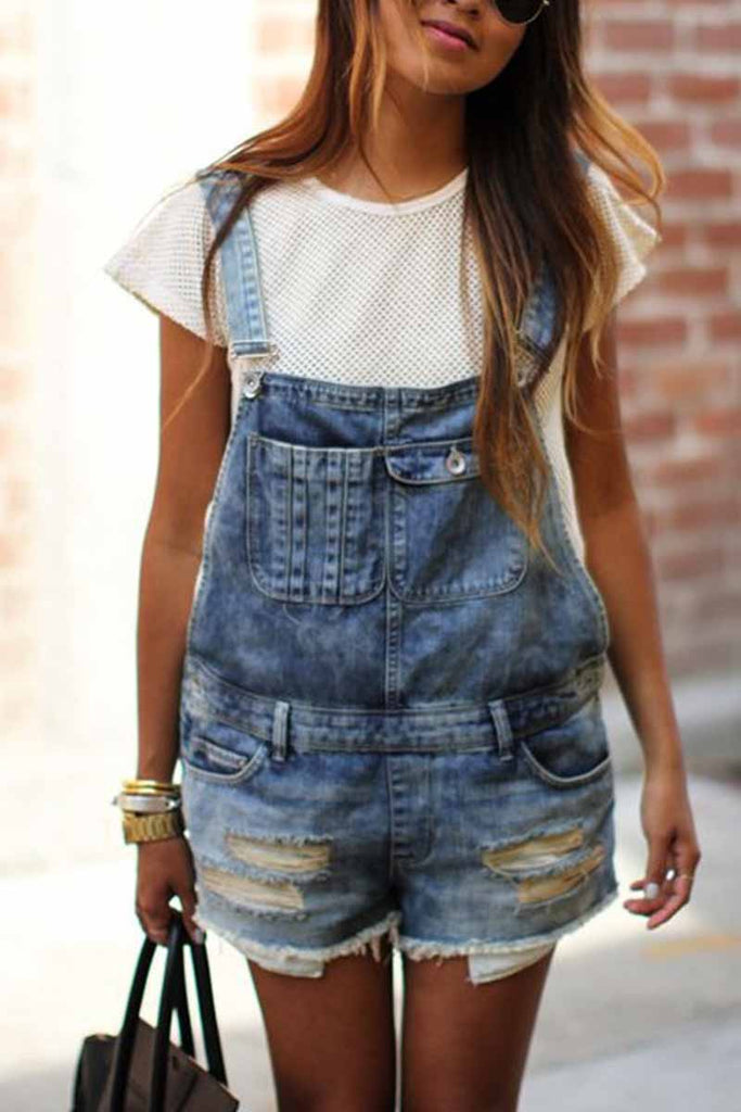 Chicindress Casual Denim Rompers with pockets