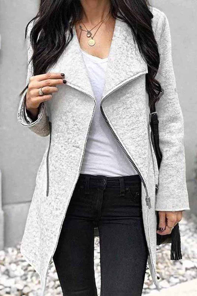 Chicindress Zippered Solid Color Coat