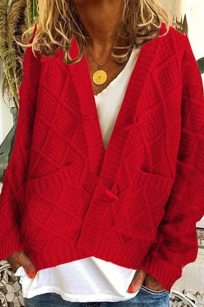 Chicindress Solid Ribbed Horn Buckle Pockets Cardigan
