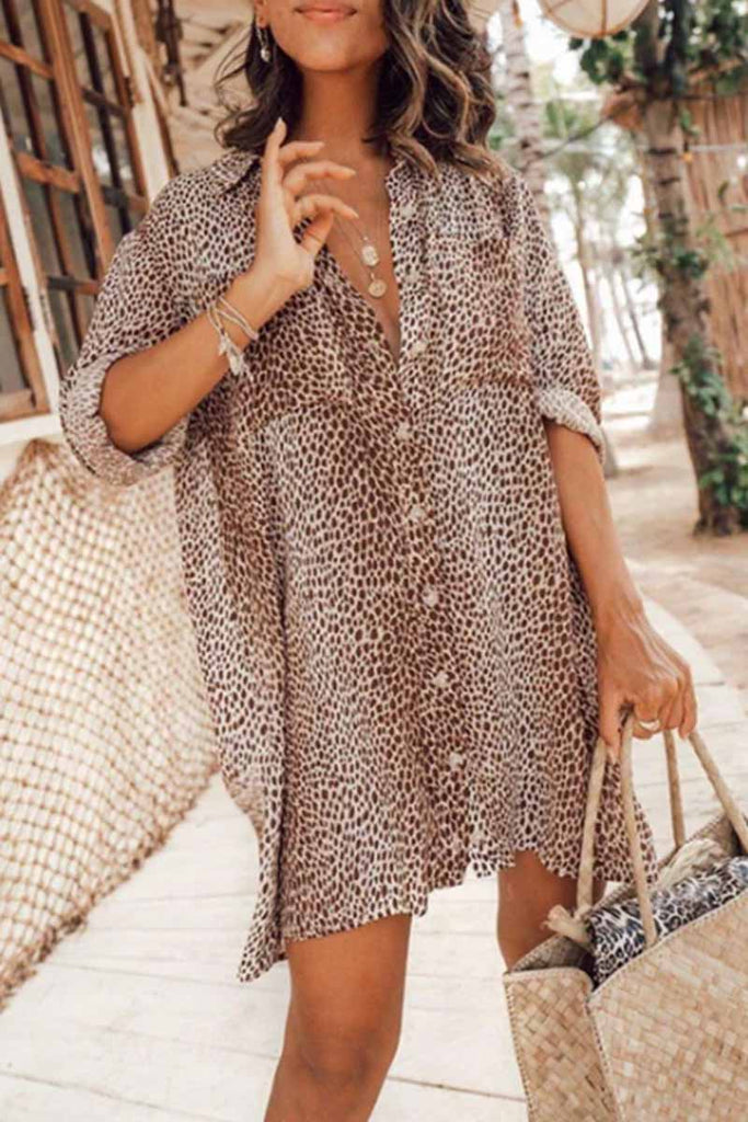 Chicindress Leopard Print Long Sleeve Shirt Mini Dress