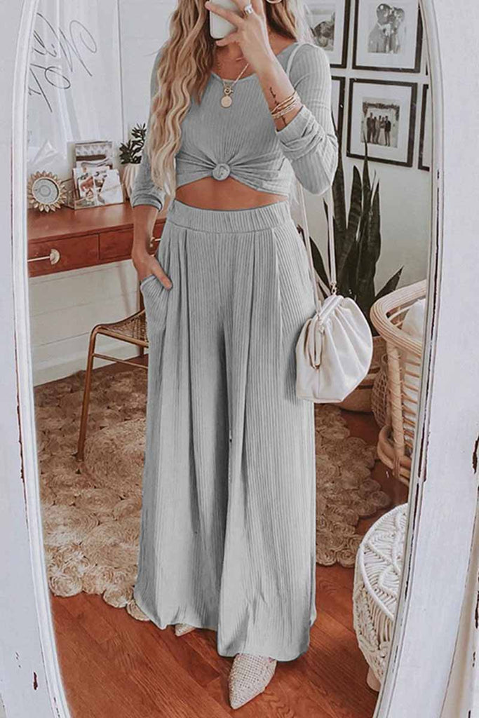 Chicindress Two-Piece Round Neck Solid Color Long Sleeves Wide Legs(4 Colors)