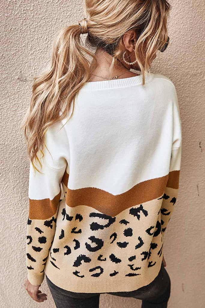 Chicindress Leopard Splice Contrast O-neck Sweater