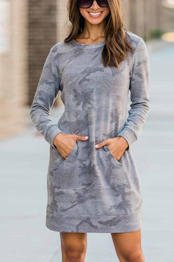 Chicindress Casual Loose Round Neck Camouflage Mini Dress