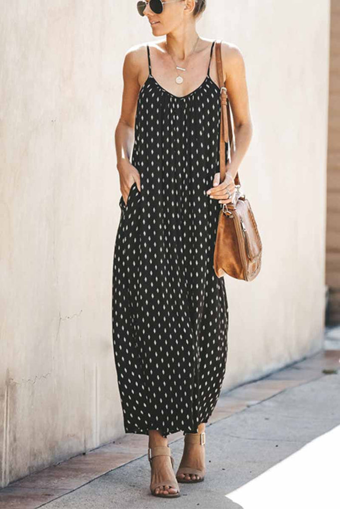 Chicindress Spotted Print Strap Sexy Maxi Dress