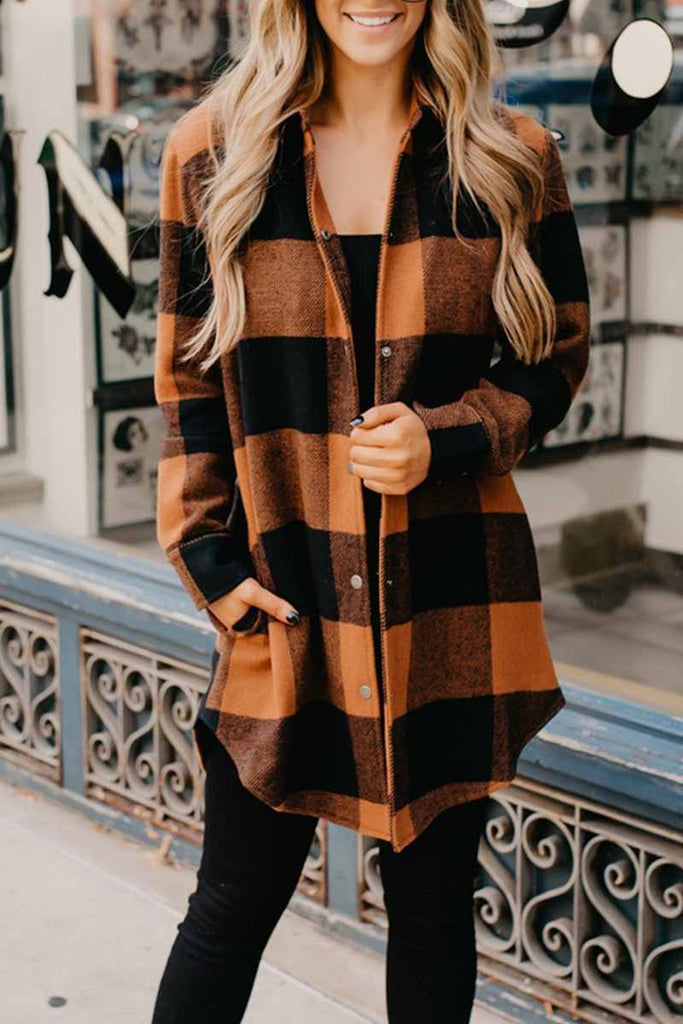 Chicindress Contrast Plaid Coat