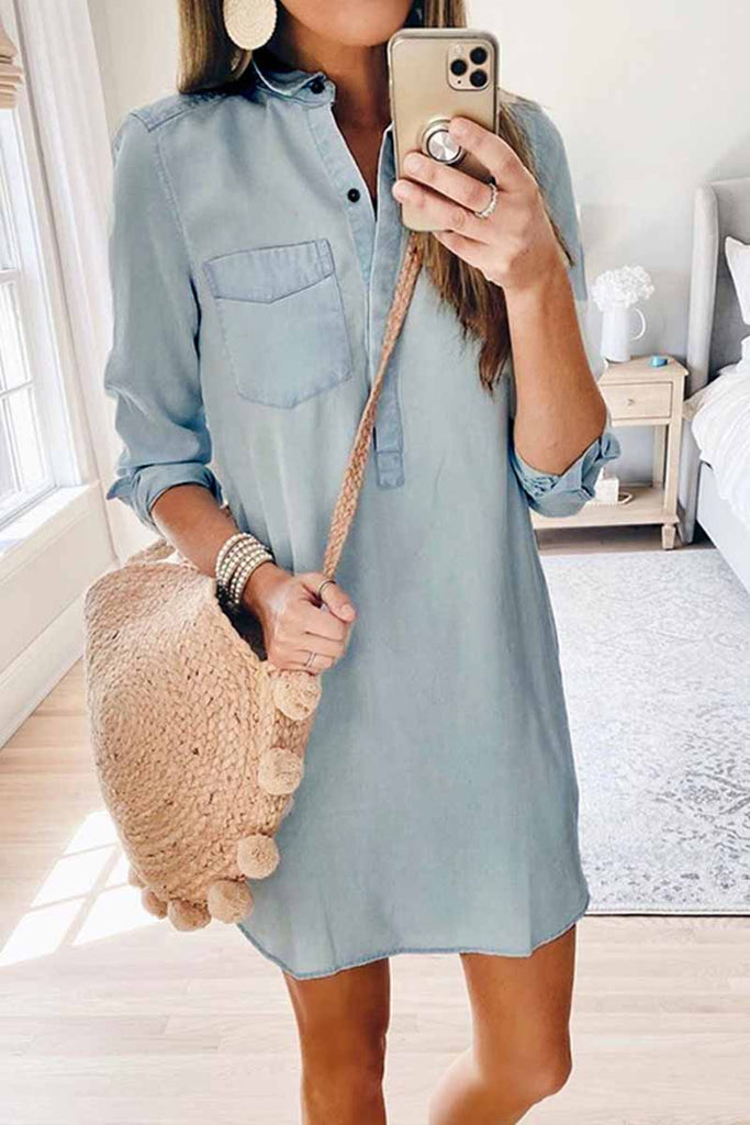 Chicindress Fall Cute Denim Mini Dress With Button (Without Belt)