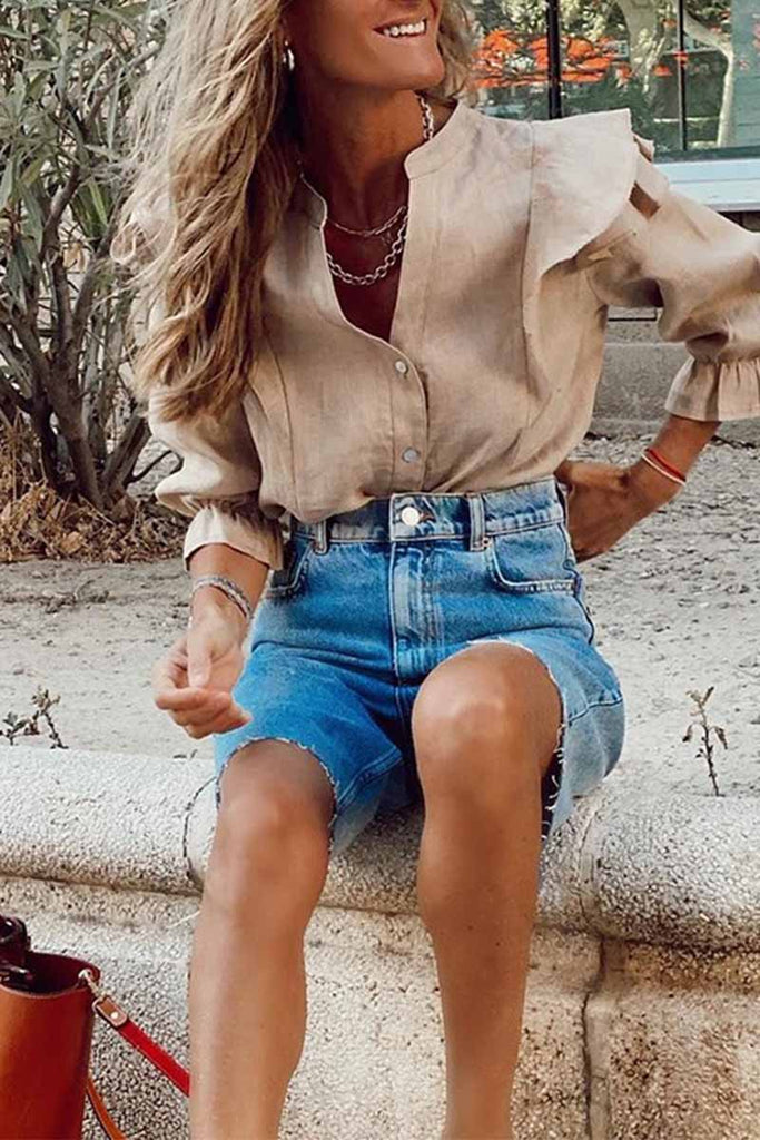 Chicindress Summer Loose Casual Button Fringed Denim Pants