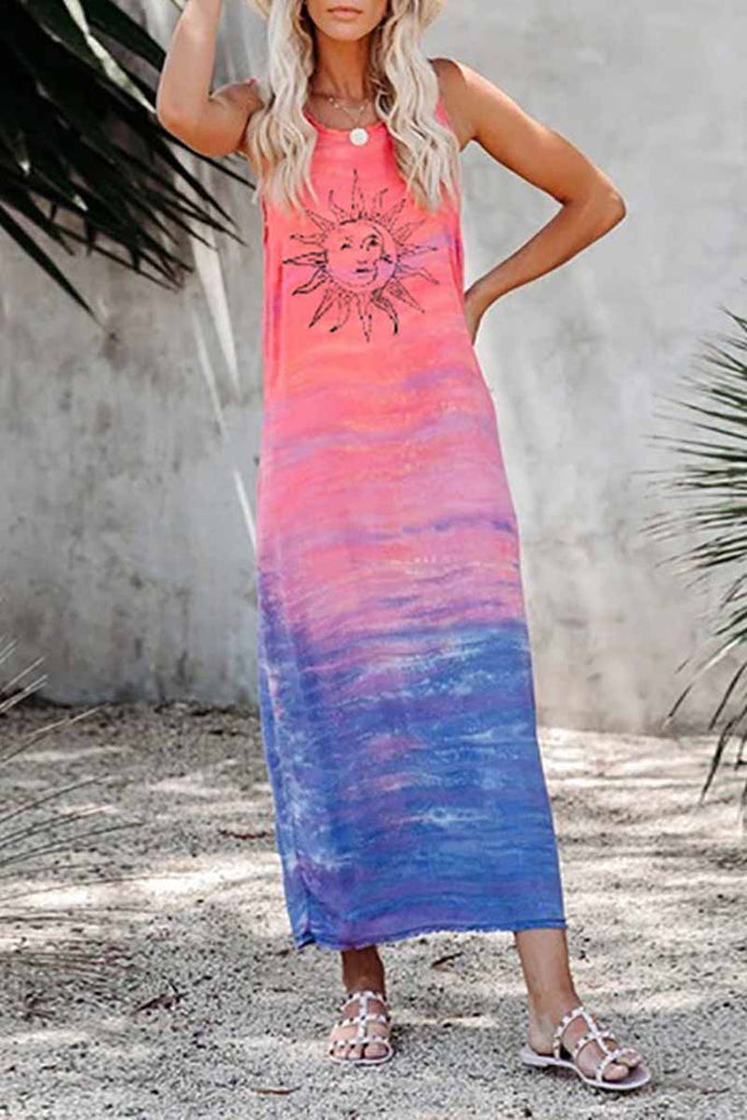 Chicindress Tie-dye Sun Print Midi Dress