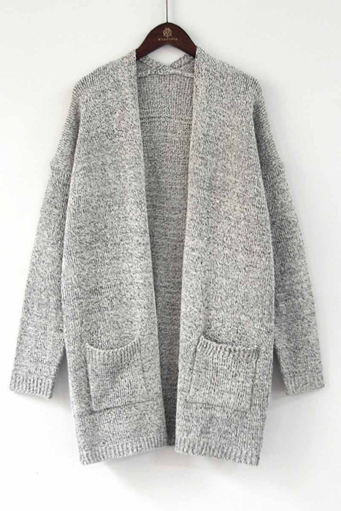 Chicindress Solid Color Knitted Cardigan With Large Pockets