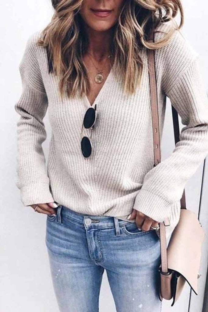 Chicindress Sexy Fashion V-neck Knitted Sweater