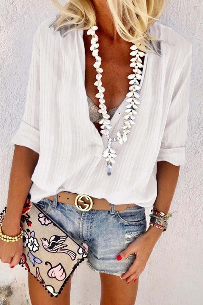 Chicindress Casual V Neck Button Blouse Tops