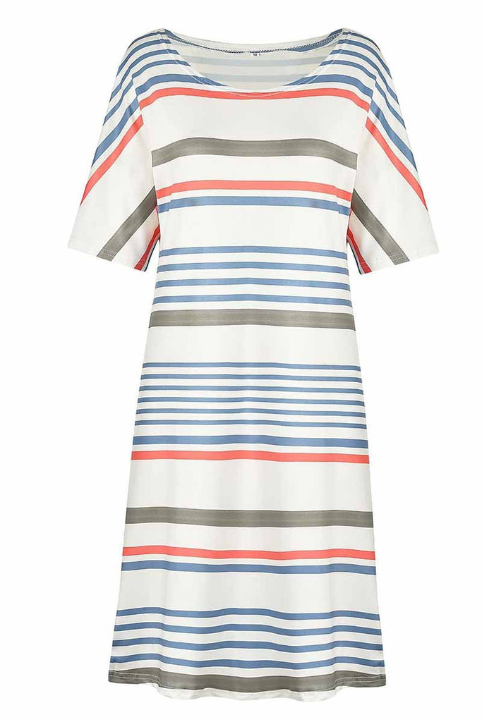 Chicindress Printed O-neck Striped Midi Dress
