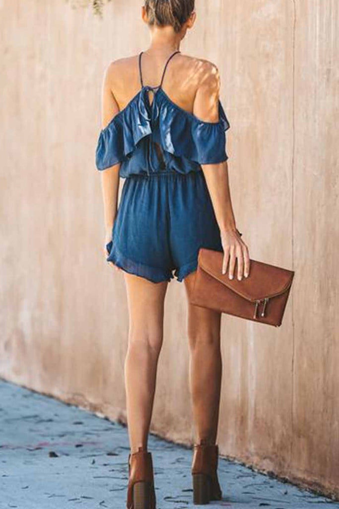 Chicindress Solid Color Slub Cotton Sling Ruffled Backless Jumpsuit