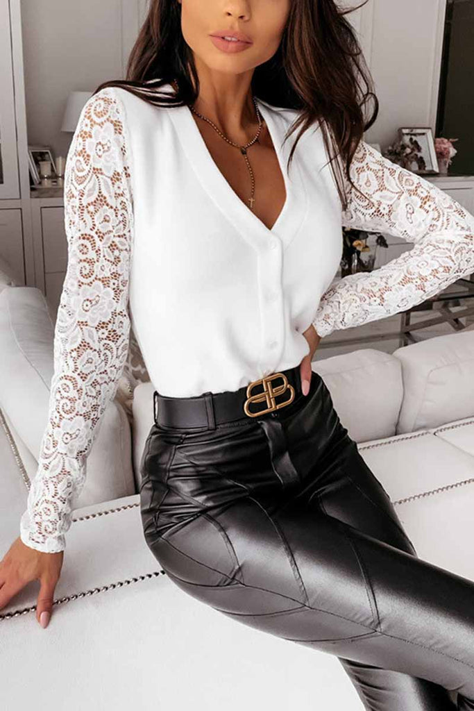 Chicindress Sexy V-Neck Lace Stitching Long Sleeves Tops