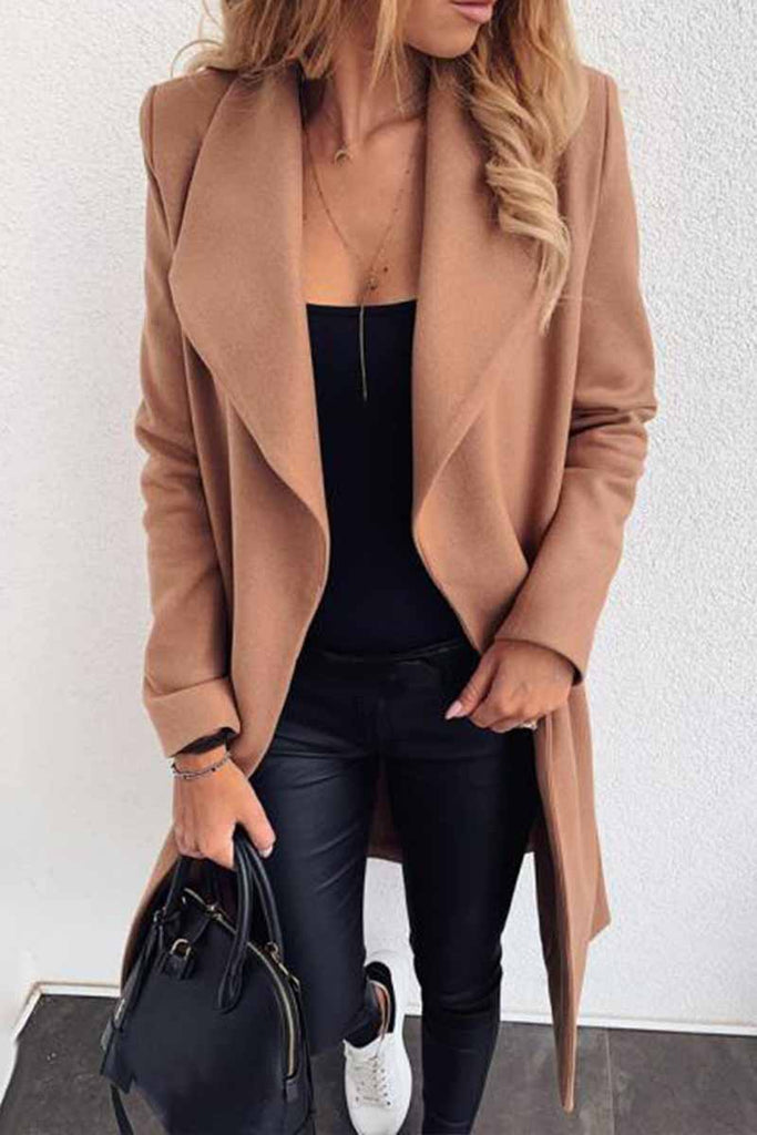 Chicindress Lapel Solid Color Coat