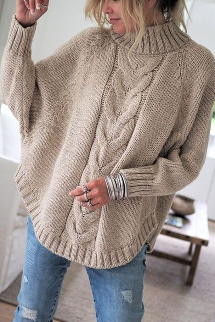Chicindress Turtleneck Sweater Loose Knitted Pullover Jumper Winter Streetwear
