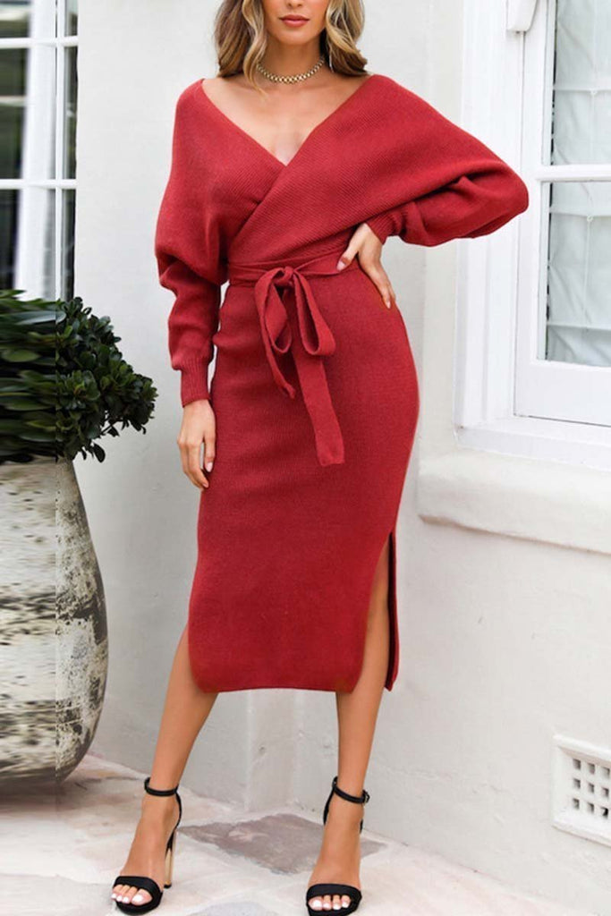 Chicindress V Neck Backless Sweater Midi Dress(5 Colors)