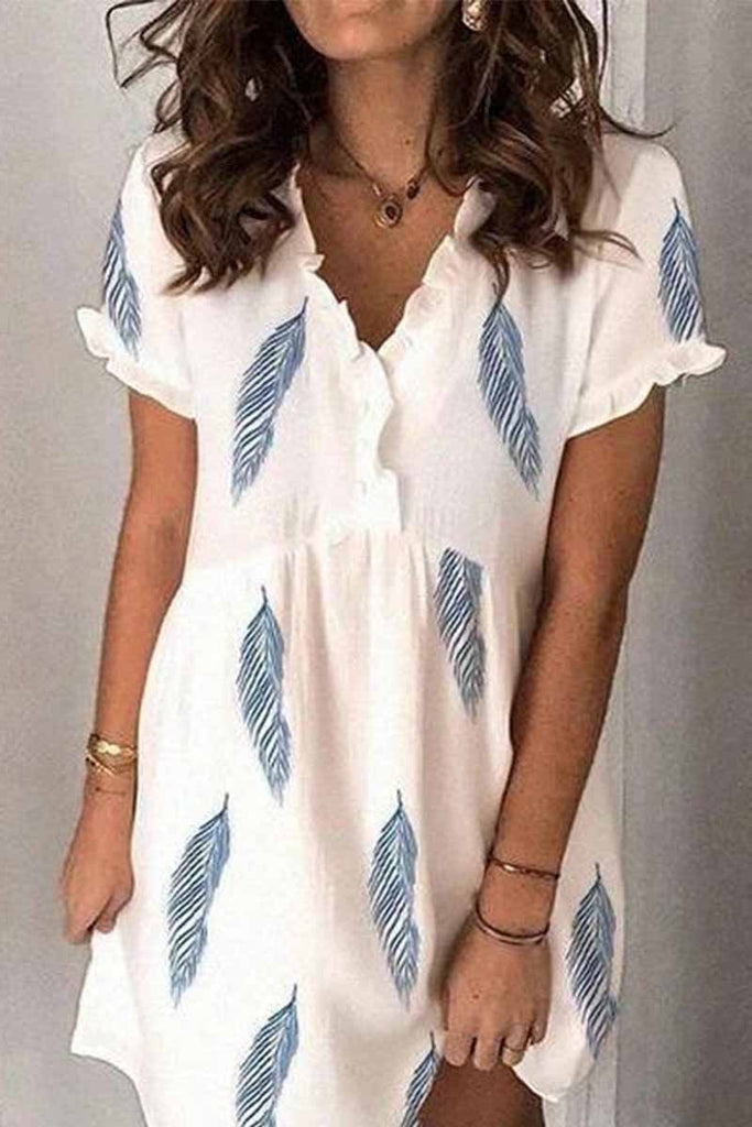 Chicindress Fashion Mini V-Neck Feather Print Mini Dress