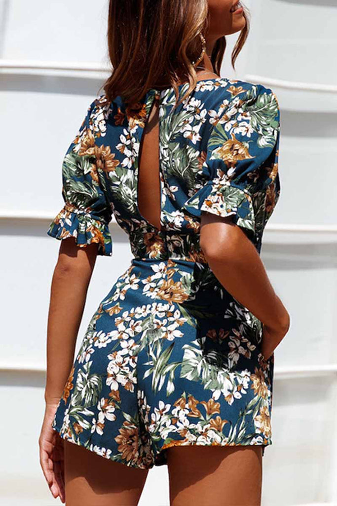 Chicindress Bohemian Deep V Neck Printed Rompers