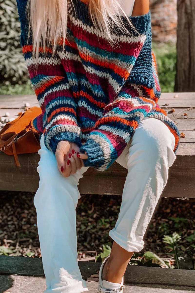 Chicindress Loose Round Neck Rainbow Striped Sweater