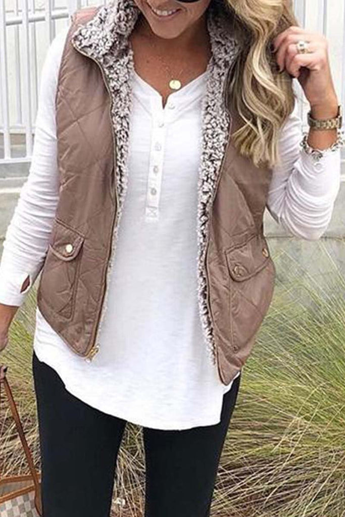 Chicindress Zippered Two-faced Pocket Jacket Vest(3 Colors)