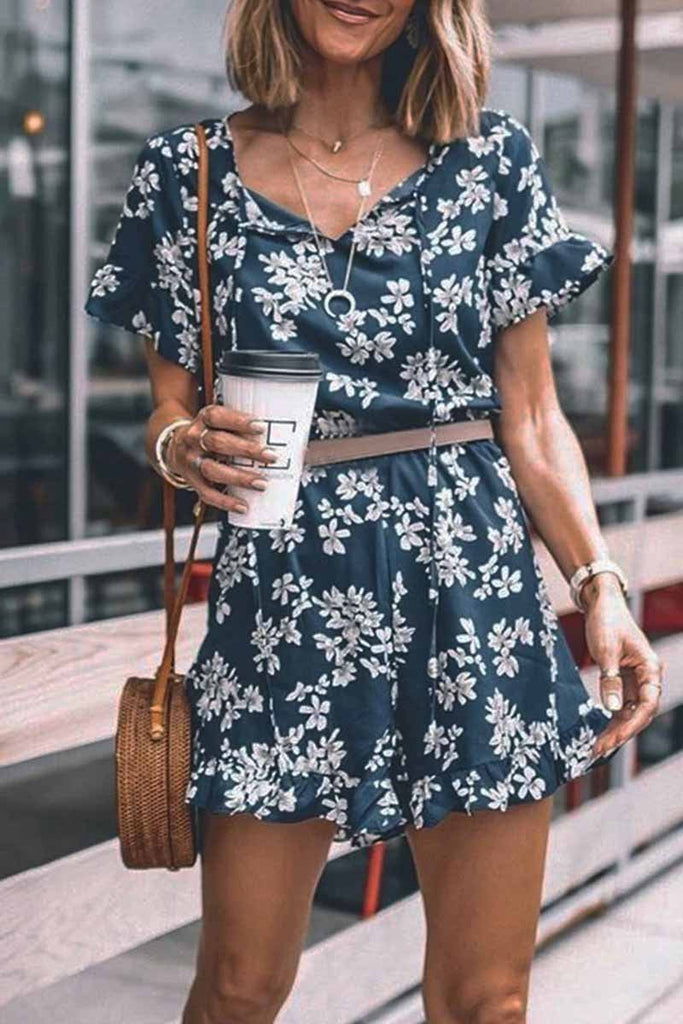 Chicindress Floral Printed Romper(Without Belt)