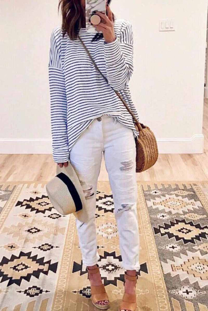 Chicindress Casual Loose Striped Tops
