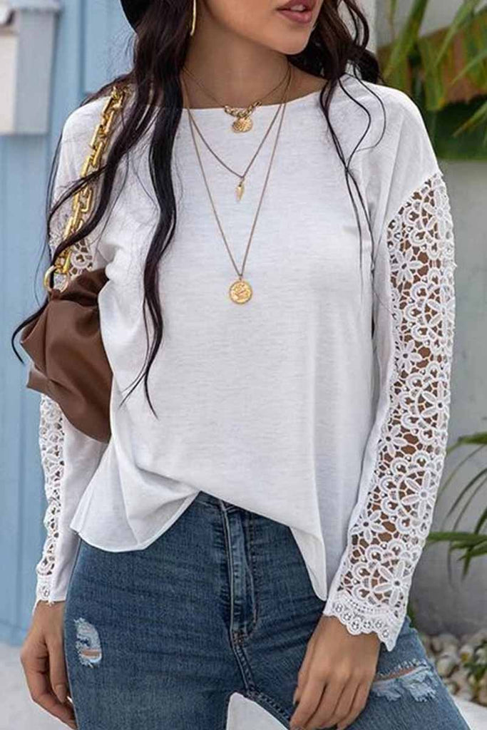 Chicindress Lace Stitching Long Sleeve Bottoming Shirt Tops