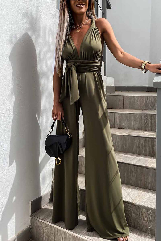 Chicindress Sleeveless Solid Color Tie Rompers