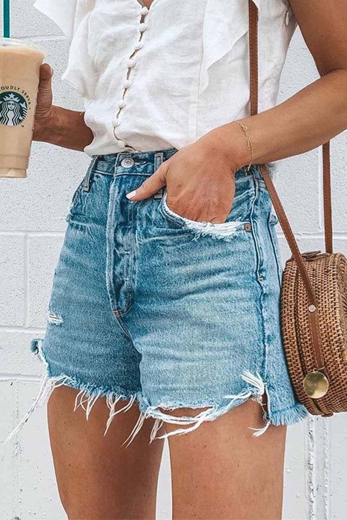 Chicindress Summer Loose Button Ripped Fringed Denim Shorts