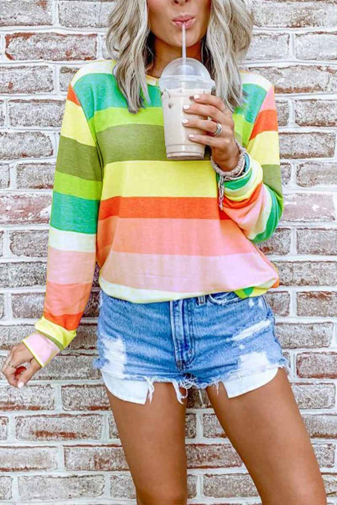 Chicindress Rainbow Striped Multicolor Thin Tops