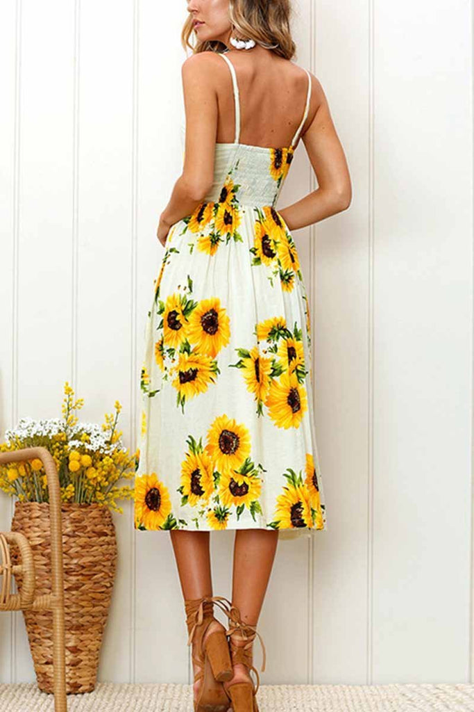 Chicindress Sunflower Print Camisole Dress
