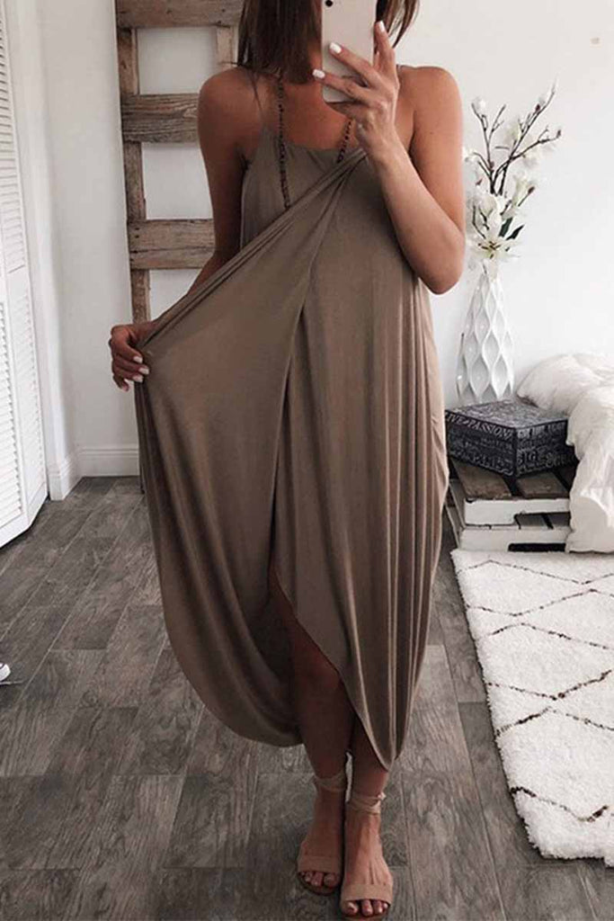 Chicindress Solid Color Knitted Loose And Irregular Mini Dress