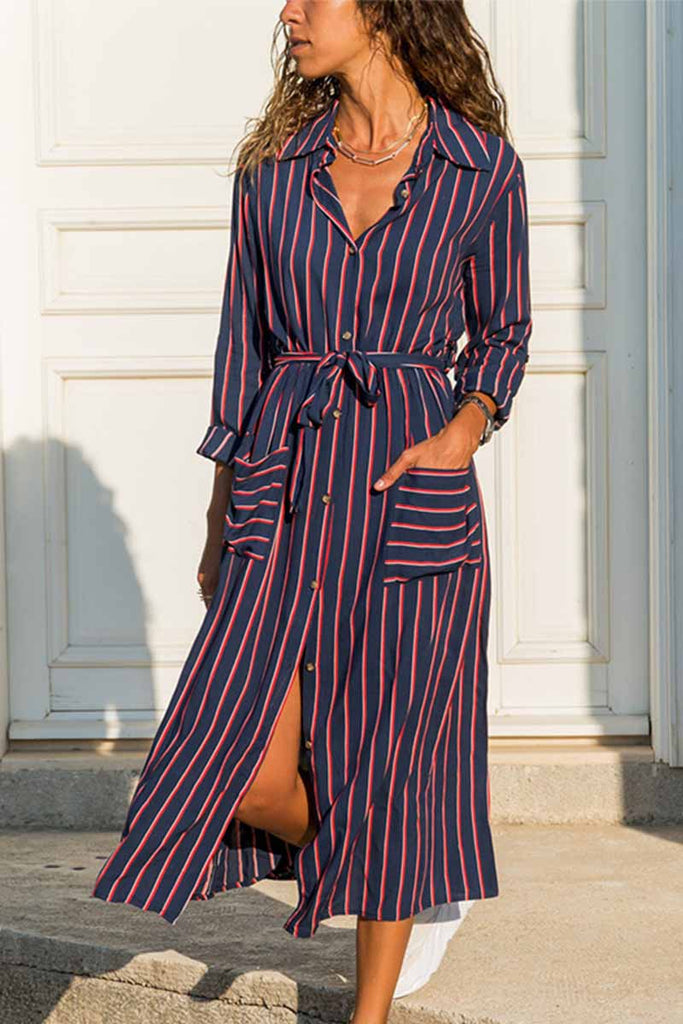 Chicindress Large Size Loose Line Printed Pocket Midi Dress