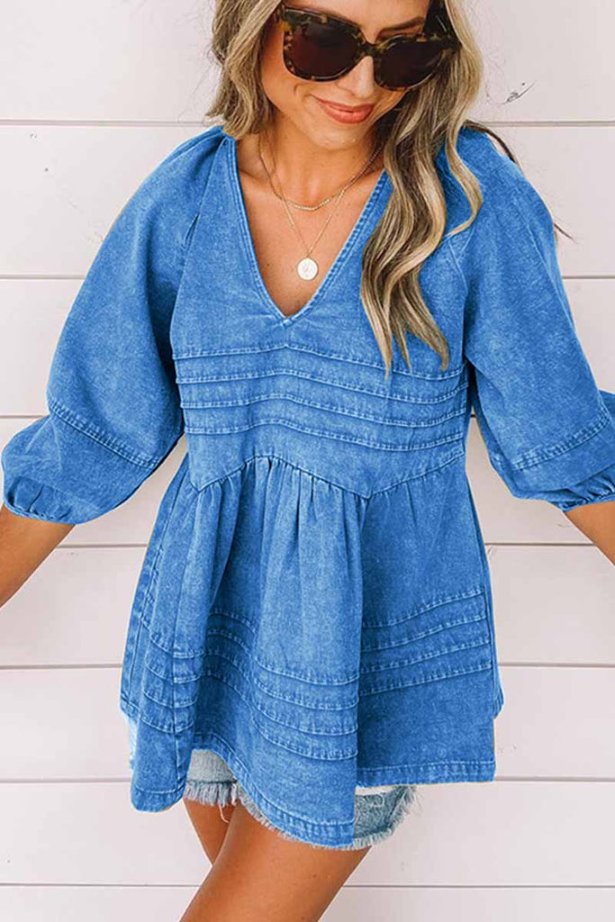 Chicindress Open Back Solid Color Denim Top