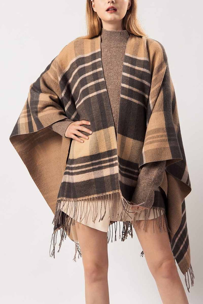 Chicindress Essential Grid Loose Tassel Shawl Cloak(2 Colors)