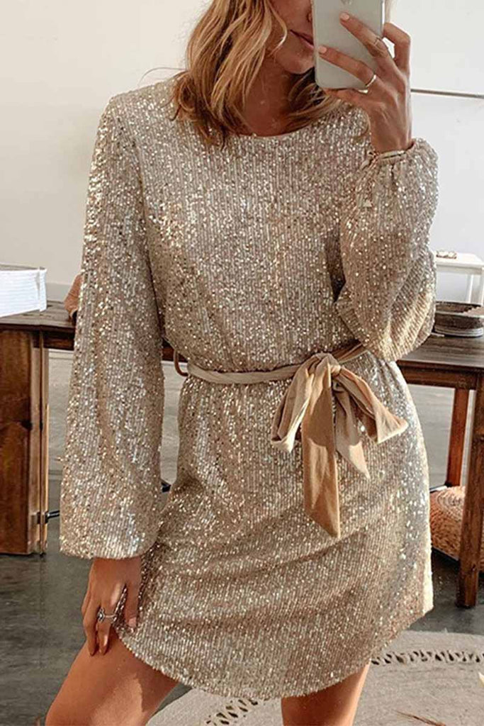 Chicindress Round Neck Lamp Basket Sleeve Sequins Mini Dress