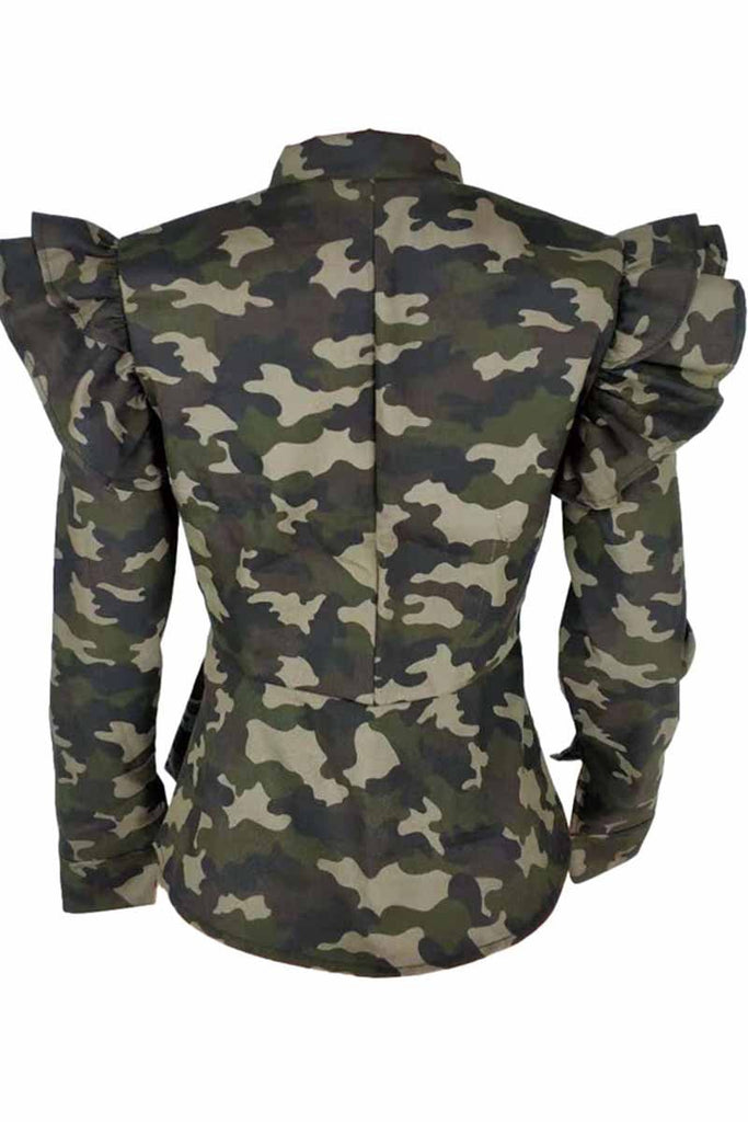 Chicindress Stand-up Collar Camouflage Ruffle Jacket