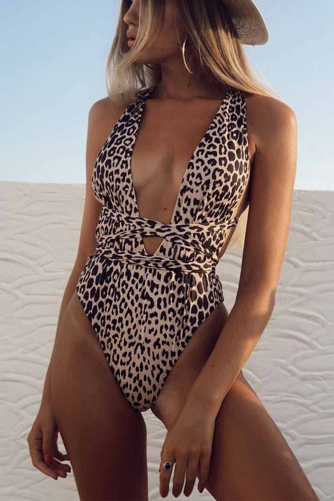 Chicindress One Piece Leopard Print Hollow Strap Swimsuit